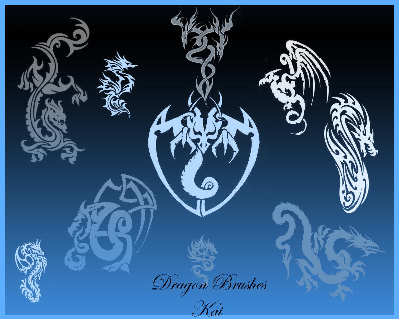 邪恶魔龙、地狱恶龙纹身、刺青图案PS笔刷下载
