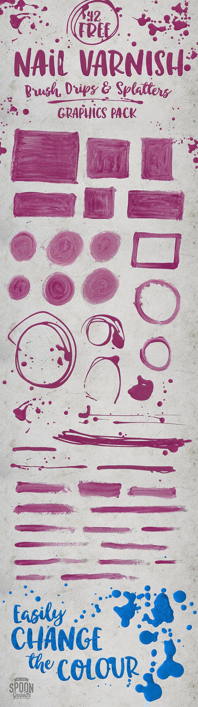 42个免费油漆涂抹刷子痕迹、滴溅、飞溅图案PS笔刷素材(PNG透明格式)