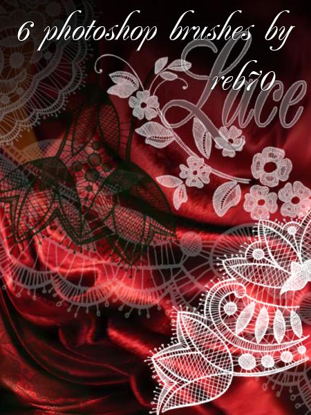 蕾丝边式绣花风格的Photoshop印花花纹图案笔刷