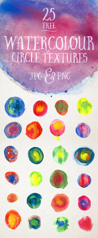 25种高清水彩涂抹圆圈纹理PS笔刷素材(PNG透明格式)