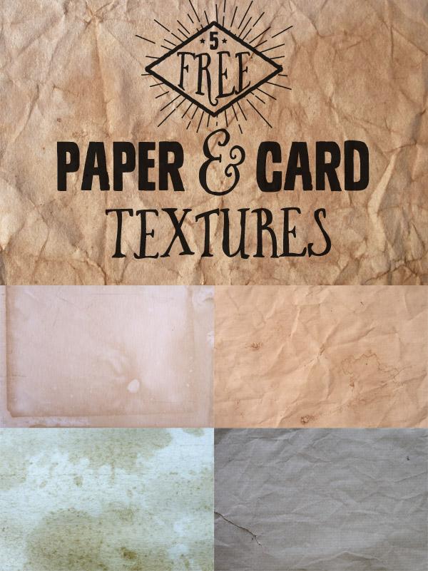 5种破旧的卡纸、纸张背景材质纹理PS笔刷素材(JPG图片格式)