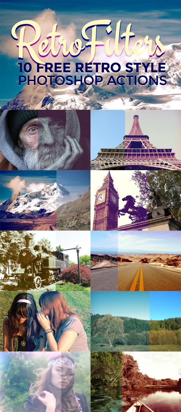 10种漂亮的复古风格照片效果Photoshop动作素材下载
