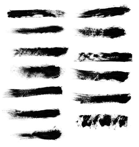油漆毛刷涂痕效果纹理PS笔刷下载