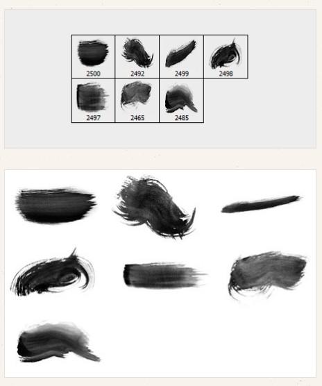 7种高清毛笔刷子笔触划痕PS笔刷下载