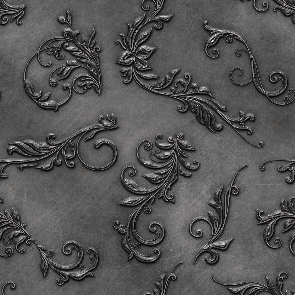 8种金属制品、铁艺浮雕式花纹图案填充Photoshop底纹素材.pat
