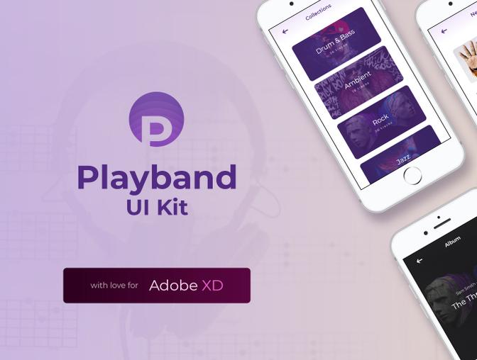 Playband音乐界面UI设计 - Adobe XD模板素材 免费下载