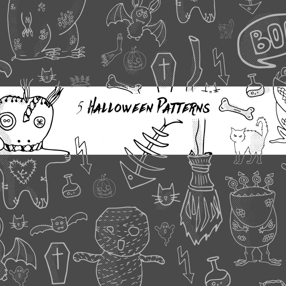 5种万圣节恐怖手绘妖怪图形Photoshop填充图案底纹素材 Patterns 下载