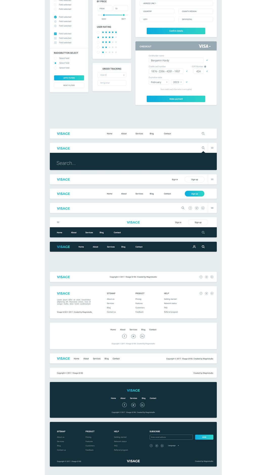 一套完整的 Web 工具包 UI 模块  -  PSD模板下载