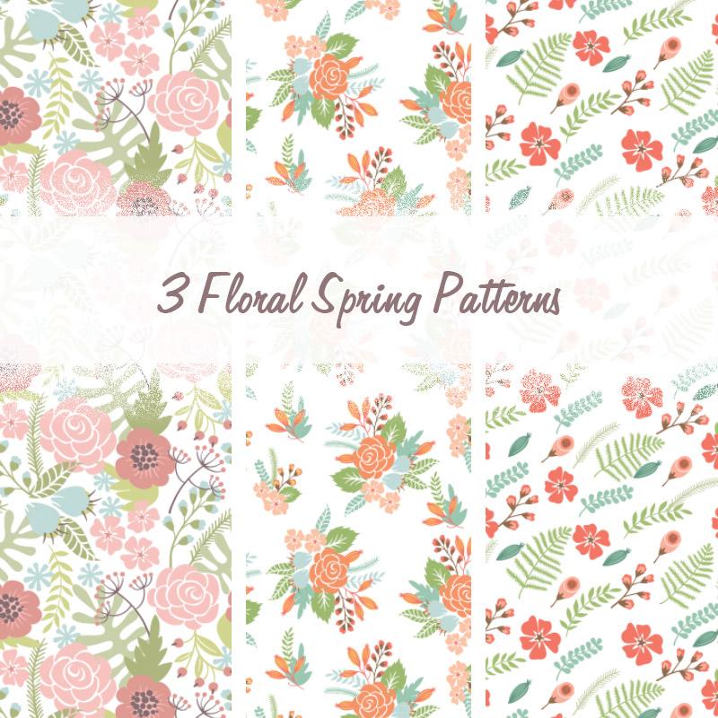 3种小清新风格的靓丽鲜花图案背景PS填充底纹素材下载