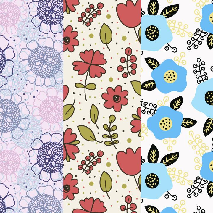 8种儿童风格鲜花图案背景PS填充底纹素材下载