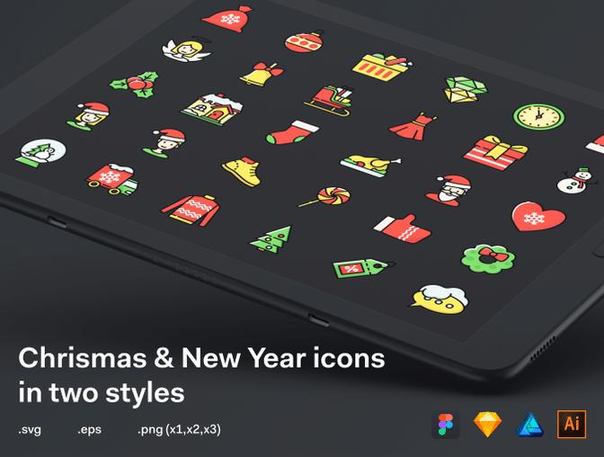 新年快乐、圣诞节快乐图标  -  Sketch 设计模板素材