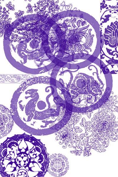 古中国印花装饰图案Photoshop笔刷下载