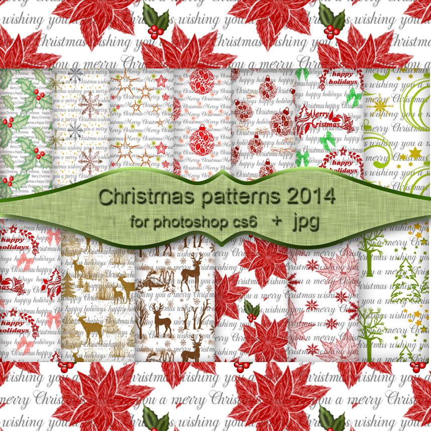 圣诞节花纹纹理Photoshop填充图案文件底纹素材 .pat 下载