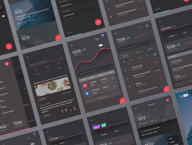 金融财务App UI 模板素材 - Sketch 源文件下载