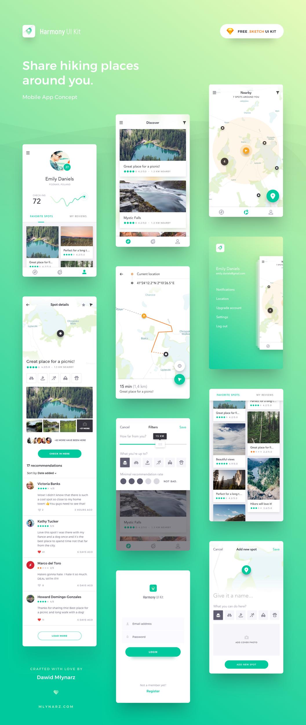iOS App 地图应用程序模板 -  Sketch 设计素材免费下载
