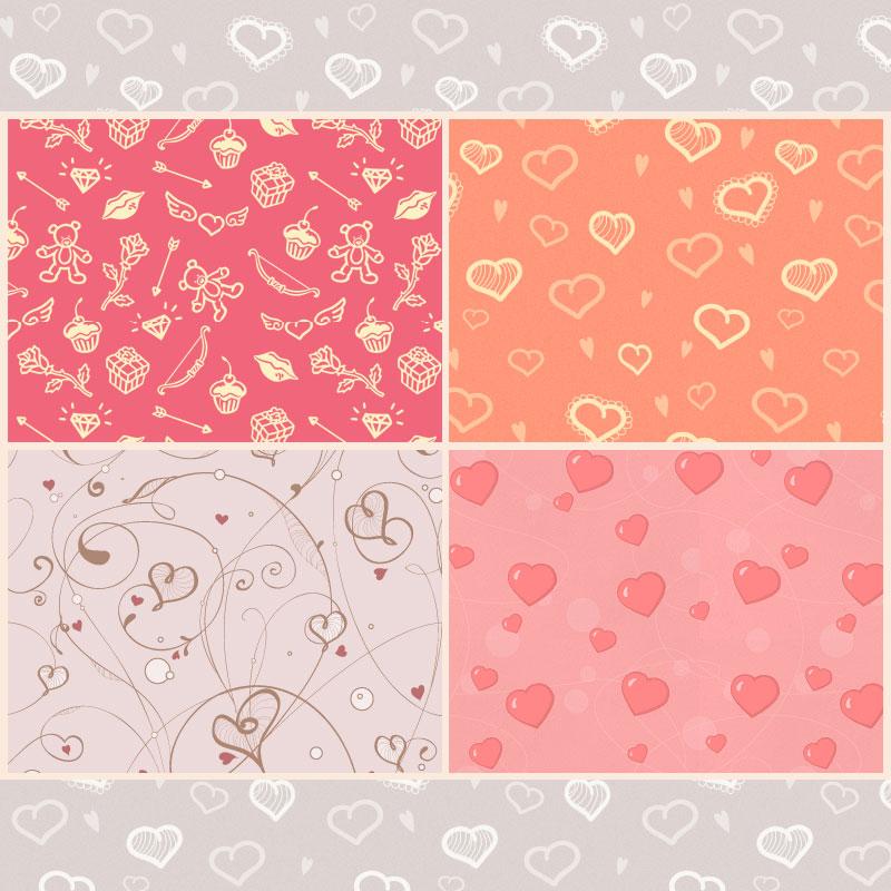 情人节热恋爱心图案背景PS填充底纹素材下载