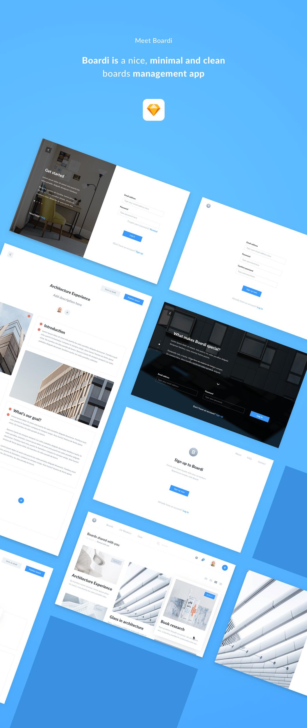 一套小清新风格的Web模板素材 - Sketch 设计素材免费下载