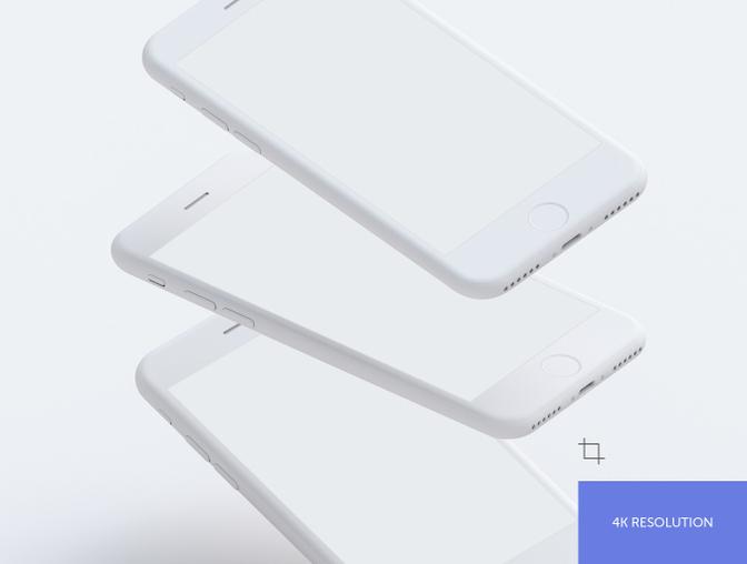 9种不同位置的 iPhone 样机模型素材 - PSD文件下载
