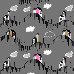 卡通都市房子背景图案PS填充底纹素材下载