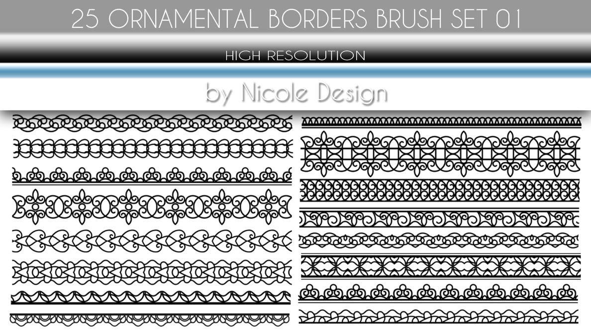 25种装饰边框花纹图案PS笔刷套装下载