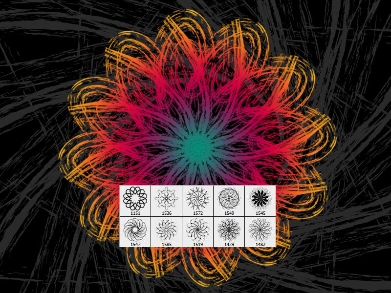 泼溅风格的分形花纹图案PS笔刷素材下载