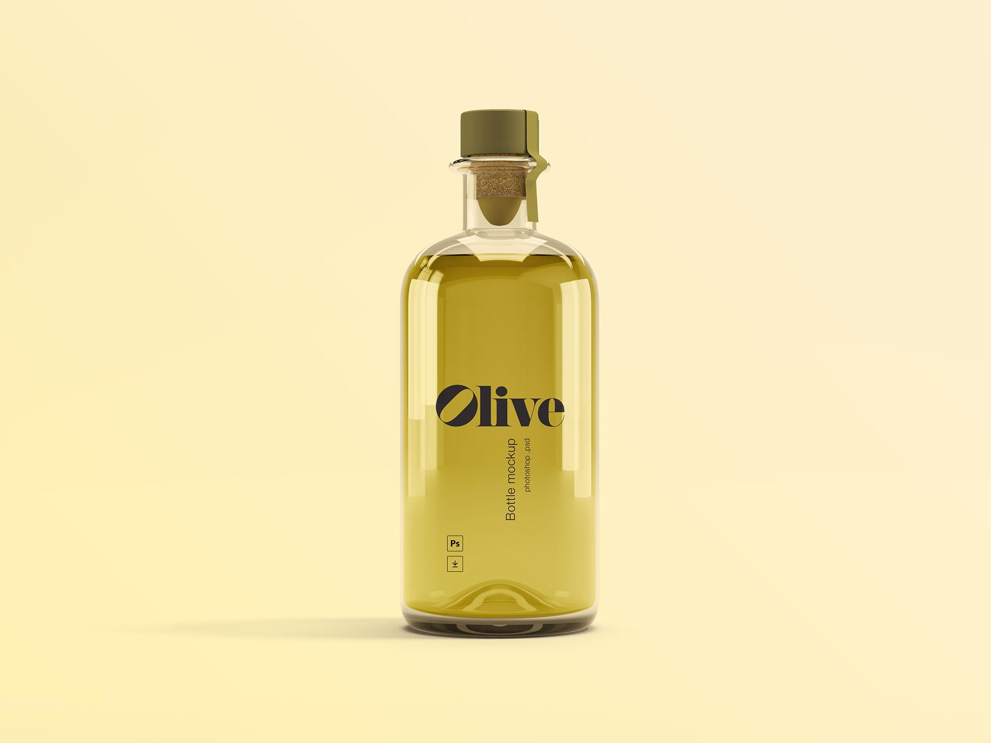 高品质橄榄油瓶子样机素材 - PSD模版下载
