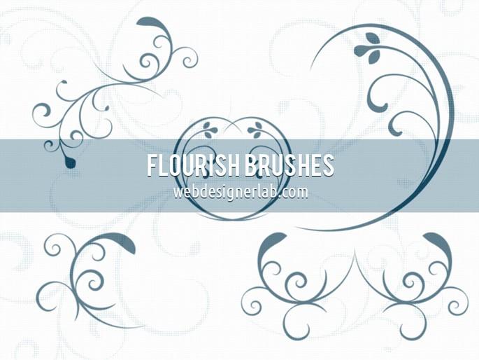 手绘优美的艺术线条花纹、印花图案Photoshop笔刷素材下载