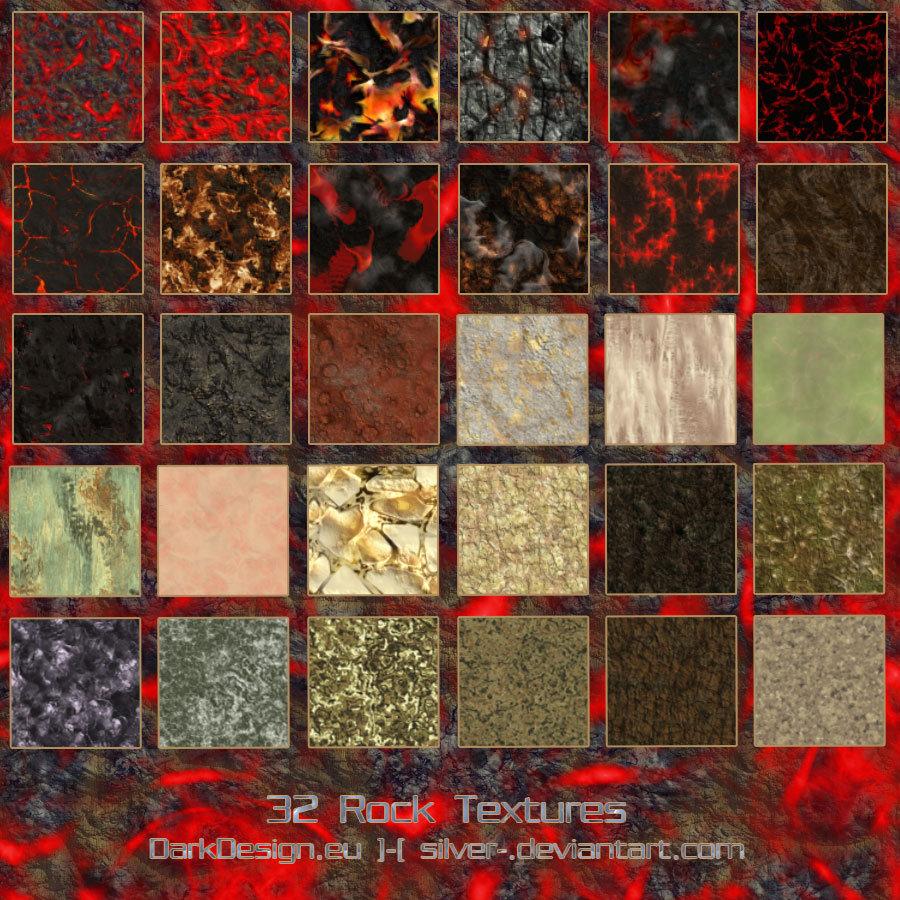32种岩石纹理、石材、熔浆、岩浆表面材质效果Photoshop材质笔刷素材(JPG格式)