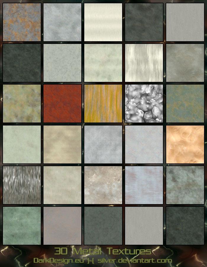 30种高级的金属纹理材质表面PS笔刷素材(JPG格式素材)