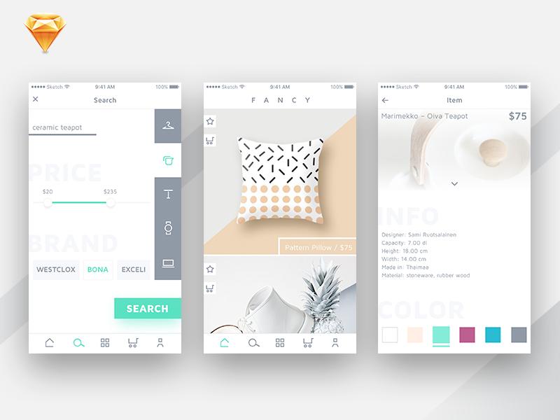 购物App设计理念 -  Sketch UI 设计素材免费下载