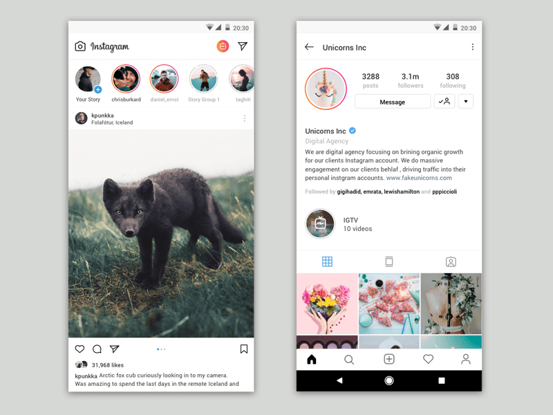 Instagram 概念版UI设计素材 - Sketch 设计素材