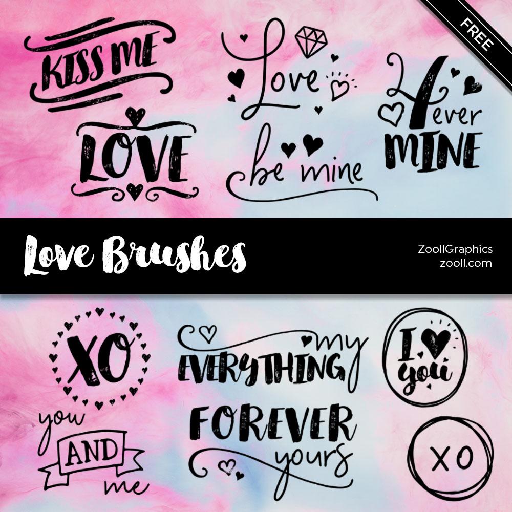 热恋、爱的标语、爱情涂鸦文字Photoshop笔刷素材下载