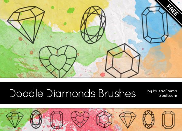 手绘钻石线框图案Photoshop笔刷素材下载