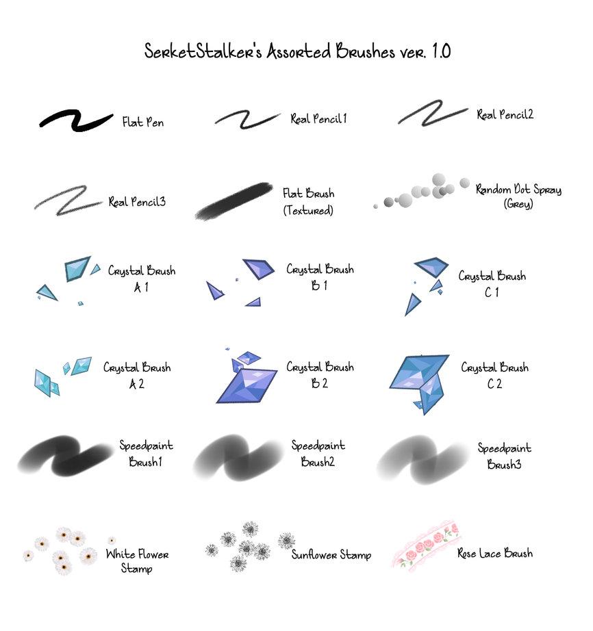 一套有意思的菱形、冰晶等笔触风格的csp笔刷素材下载sut画笔