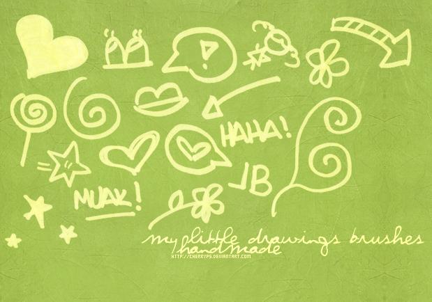 可爱童趣手绘涂鸦标记Photoshop笔刷素材下载