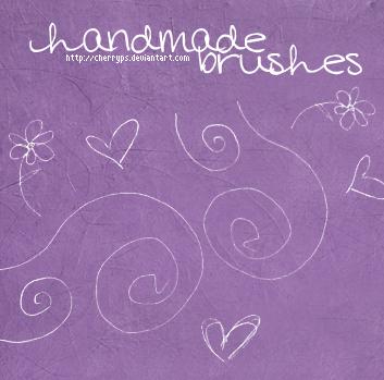 手绘线条爱心花朵图案Photoshop笔刷下载