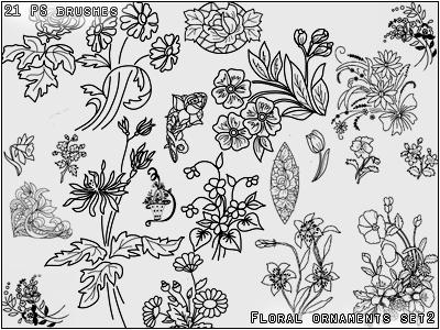 手绘漂亮的花纹图案Photoshop印花图案笔刷