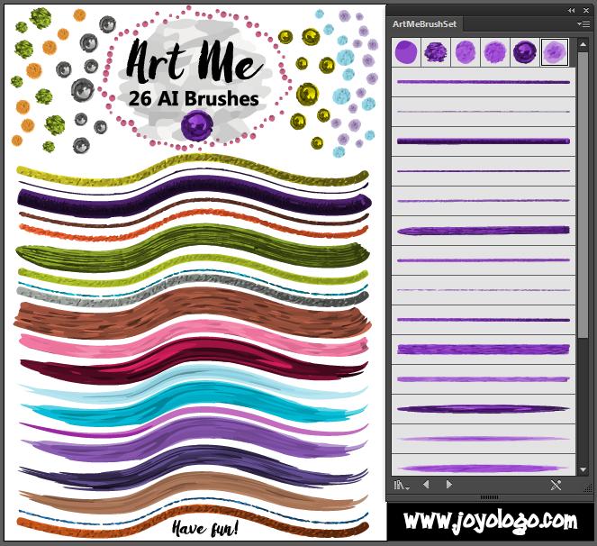 26种高品质绘画艺术Adobe Illustrator笔刷画笔素材免费下载