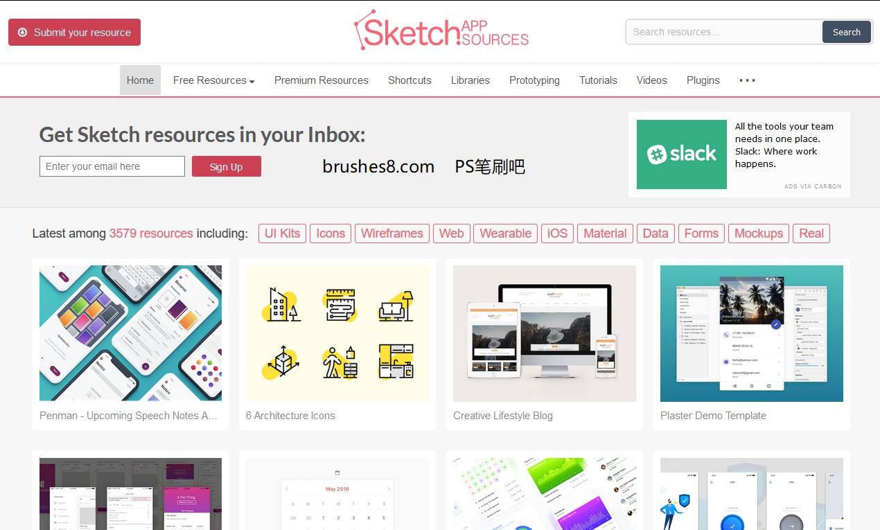 免费的Sketch资源模板素材分享网站:Sketchappsources