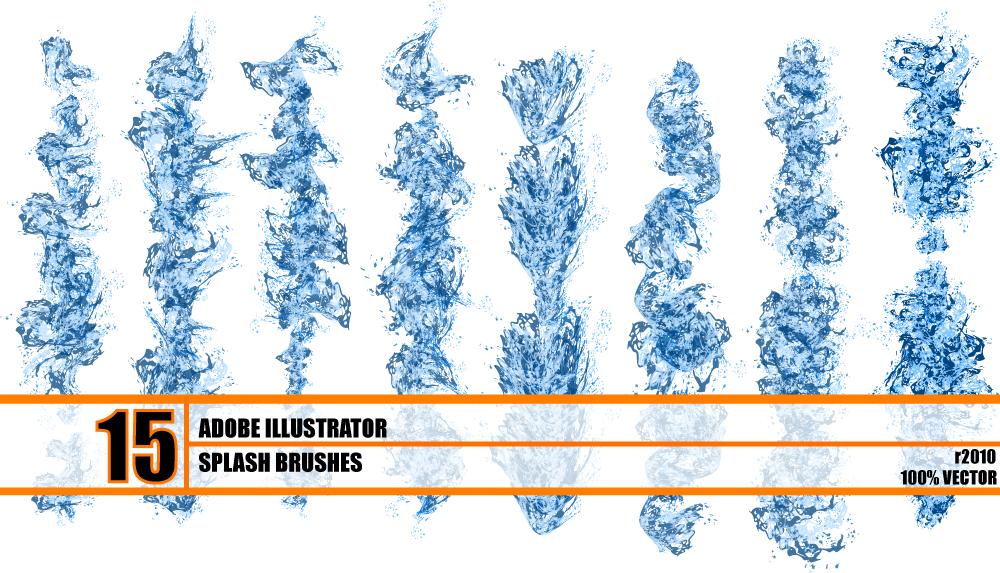 15种水流效果痕迹笔触笔刷Illustrator画笔素材下载