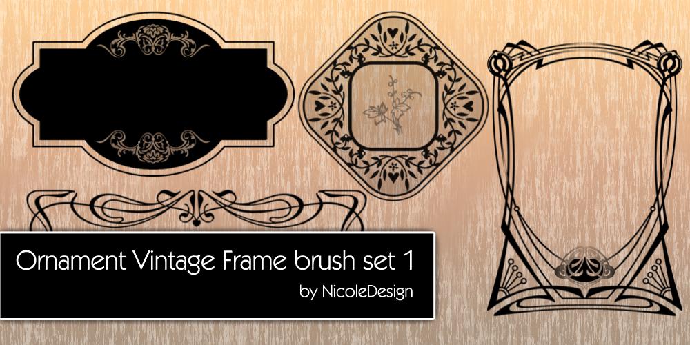复古式艺术花纹装饰边框图案PS笔刷下载