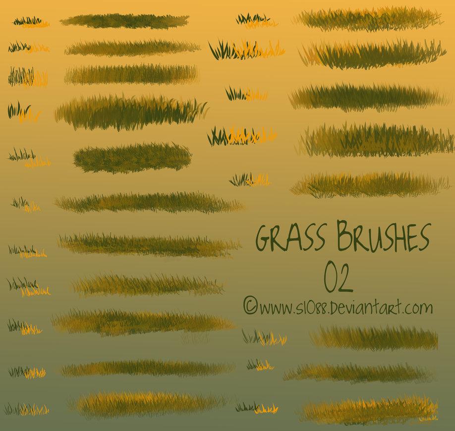 免费CG插画风格的野草、青草、草丛笔触Photoshop笔刷素材下载
