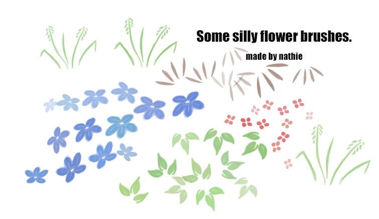 一些手绘水彩风格的小花朵、小叶草图案Photoshop笔刷素材下载