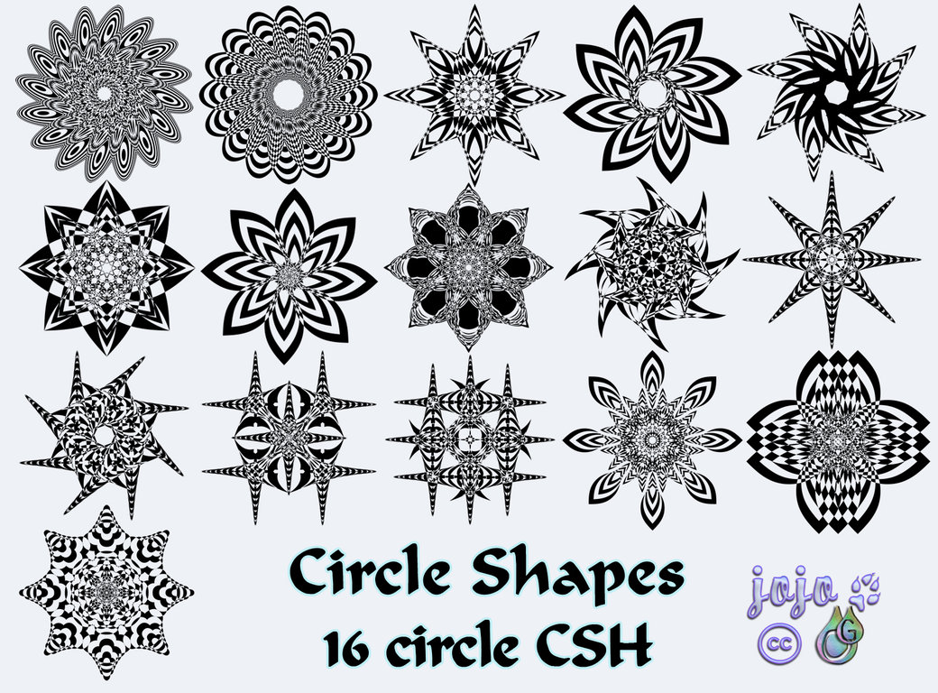 万花筒风格的花纹图案Photoshop自定义形状素材.csh下载