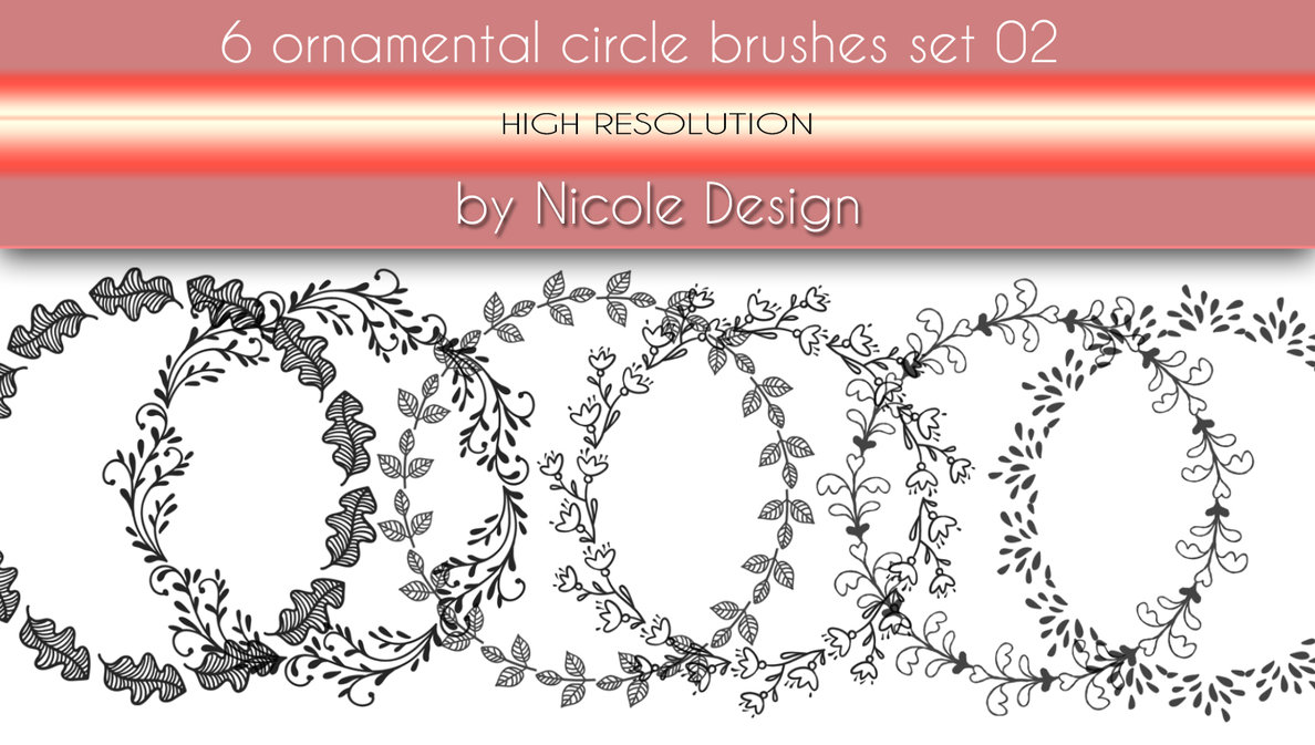 6种手绘花圈花纹图案Photoshop印花笔刷下载