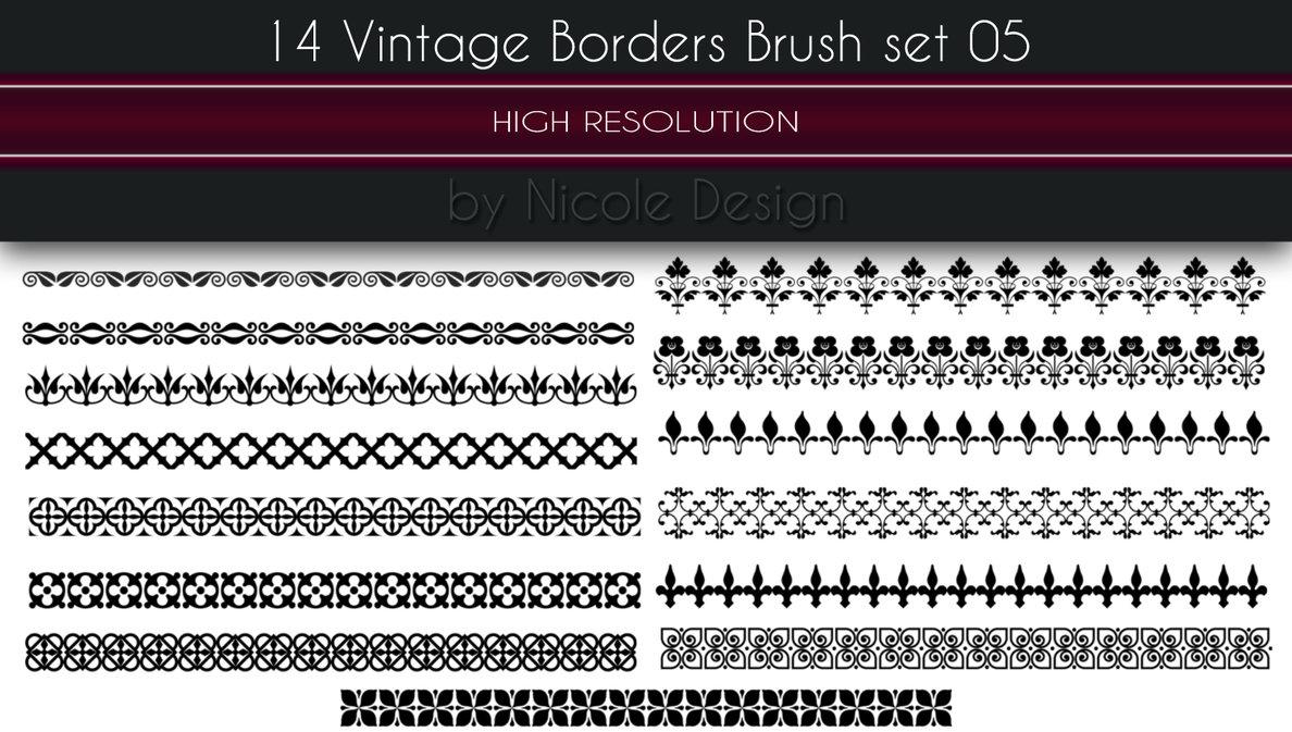 14种漂亮的印花边框、植物花纹条纹图案Photoshop笔刷下载