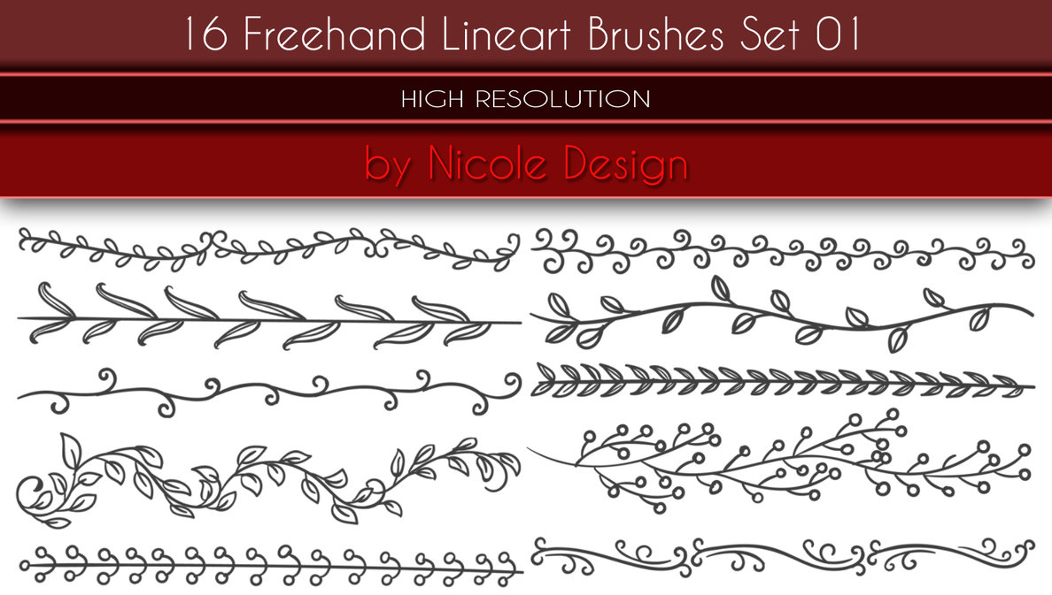 16种手绘植物叶子枝条图案印花Photoshop笔刷素下载