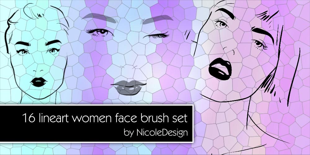 16种女性头像、都是女郎肖像描绘Photoshop笔刷下载