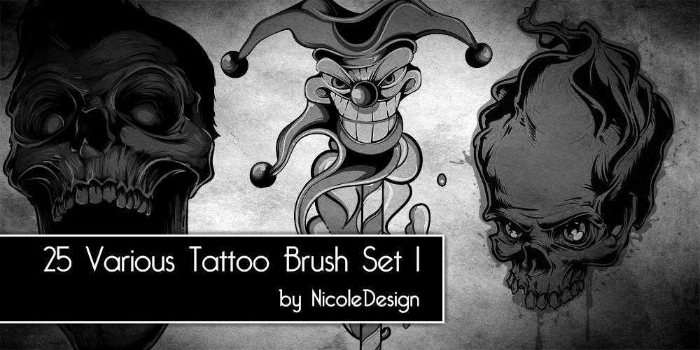 25种骷髅头、非主流恐怖纹身图案Photoshop笔刷下载