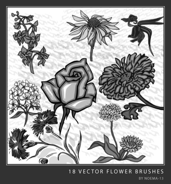 18种矢量花朵、花纹Photoshop印花图案笔刷素材